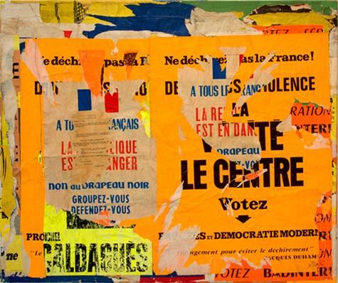 Jacques VILLEGLE, Sevres-Babylone – Ne dechirez pas la France , 8 aout 1968, decollage mounted on canvas, 37 x 44 inches