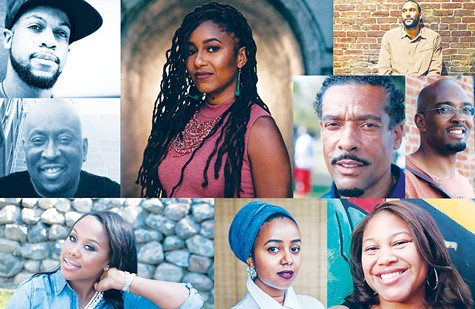 BLACK THOUGHT: The Black Literary Collective features well-known and respected writers who include (clockwise from top left): Tyson Amir, Melissa Jones, Tongo Eisen-Martin, Ice Mike, Malik Wade, Joy Elan, Alia Gabres, Thomishia Booker and DB Bedford.