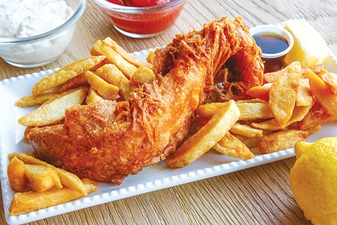 GEAR: Beer-battered cod and steak-cut french fries make for tasty fare.