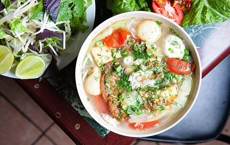 Bun cha ca, a fish ball noodle soup with roots in Hanoi, is the daily special on Fridays.
