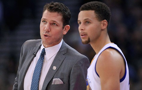Interim Head Coach Luke Walton (left) and star guard Stephen Curry have led the Warriors to a record-breaking season.