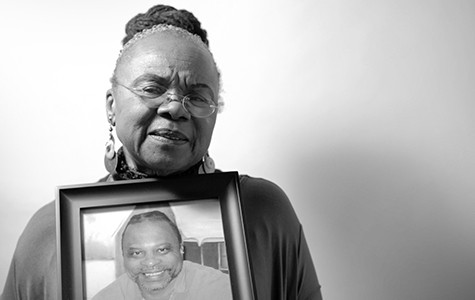 Despite the fact that Demian Johnson (in the framed photo) has a long list of accomplishments in prison, it may be a long time before he reunites with his mother, Ann Johnson.