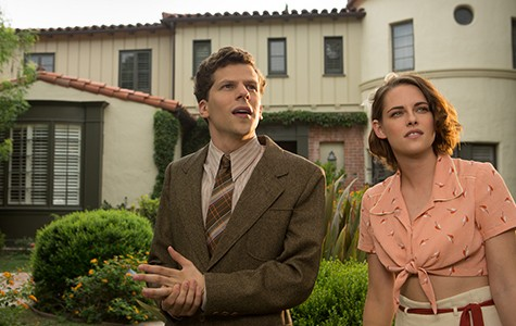 Jesse Eisenberg and Kristen Stewart in Café Society.