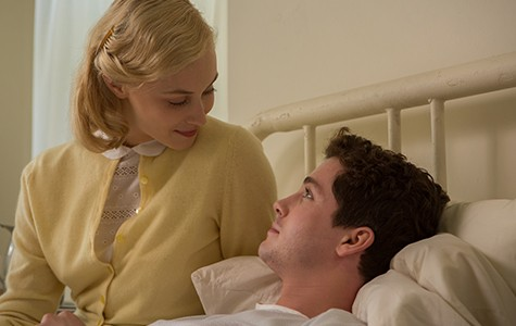 Sarah Gadon (left) and Logan Lerman in Indignation.
