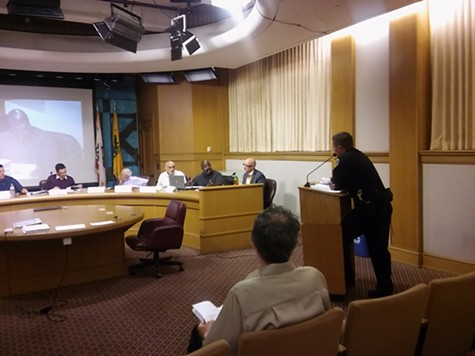 Oakland Police Deputy Chief Darren Allison addresses the Privacy Commission.