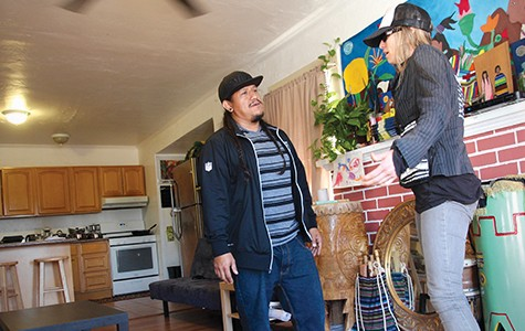 Lisa Gray-Garcia chats with Muteado Silencio at their East Oakland home.