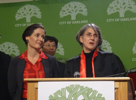 Anne Kirkpatrick and Oakland Mayor Libby Schaaf at a press conference today.