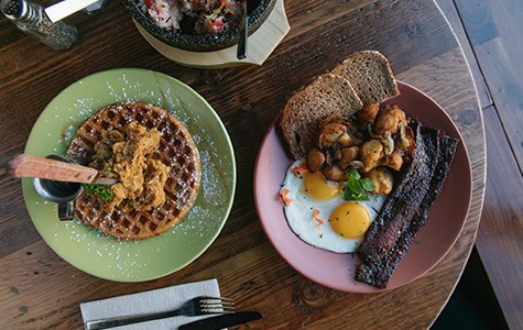 "Breakfast at Berkeley Social Club might include an egg plate with ""Millionaire's Bacon"" (right) or a Korean spin on chicken and waffles."