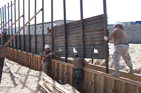 A portion of the existing U.S.-Mexico border wall being built in 2006. Trump has said his wall will be made of concrete and stand much higher.