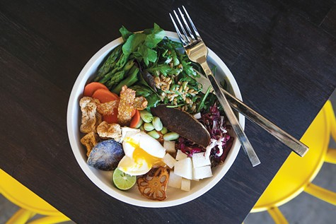Drip Line's gado gado, an almost-vegan dish featuring seasonal veggies, poached egg, and peanut sambal.