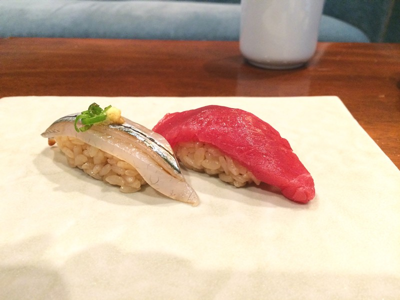 Needle fish and blue fin tuna nigiri at Utzutzu's soft opening. - MOMO CHANG