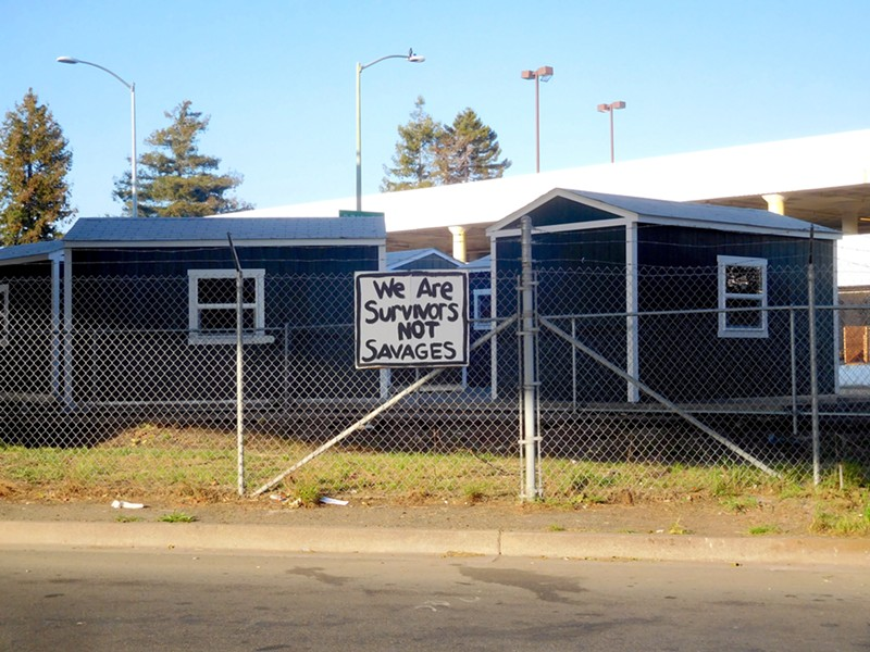 The city's Tuff Shed camp contains 20 sheds capable of housing 40 residents at a time.