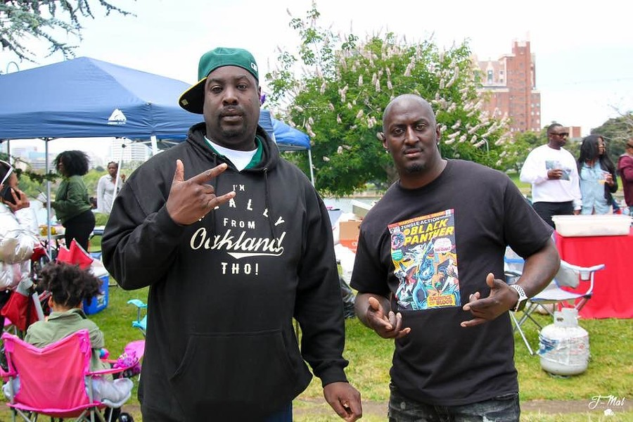 "Kenzie Smith (left) and Onsayo Abram at Sunday's event ""BBQing While Black"" at Lake Merritt in Oakland. - COURTESY OF KENZIE SMITH"