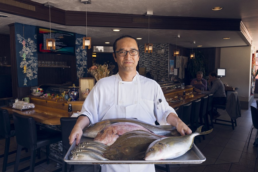Jin Joo sources much of Kamado's seasonal fish from Tsukiji Fish Market. - PHOTO BY LANCE YAMAMOTO