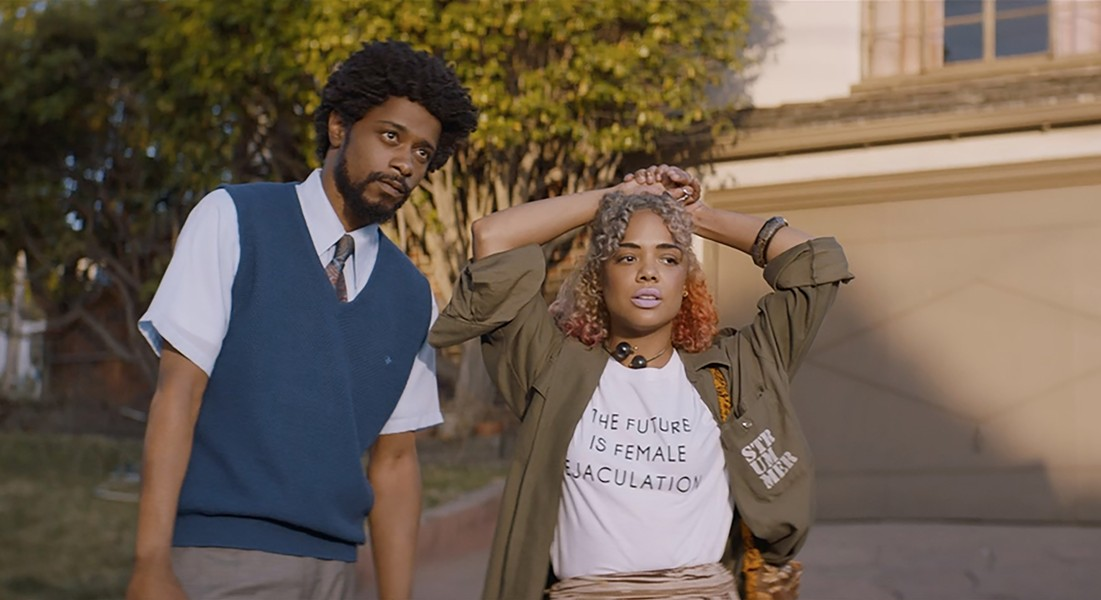 Lakeith Stanfield and Tessa Thompson face the future in 'Sorry to Bother You.'