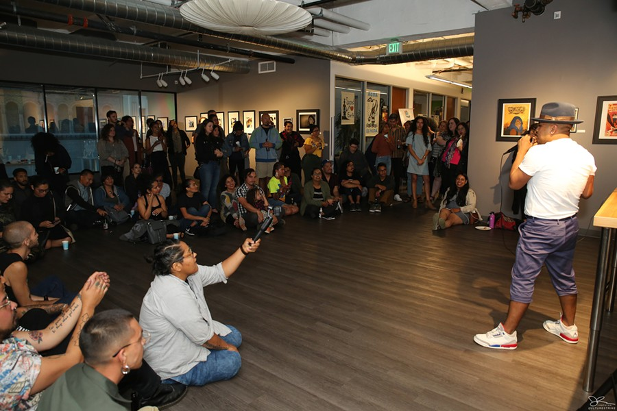 Yosimar Reyes giving the opening remarks at the exhibit. - PHOTO COURTESY CULTURESTRIKE