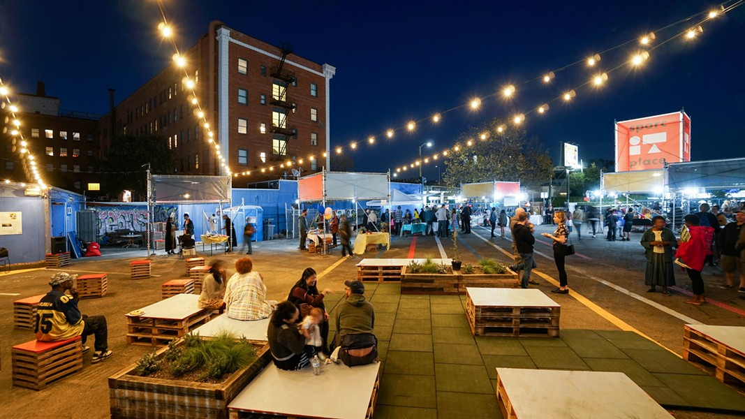 SPARC-It-Place, a temporary community market, is one part of the new music and arts campus surrounding the California Hotel. - PHOTO COURTESY OF EAST BAY ASIAN LOCAL DEVELOPMENT CORPORATION