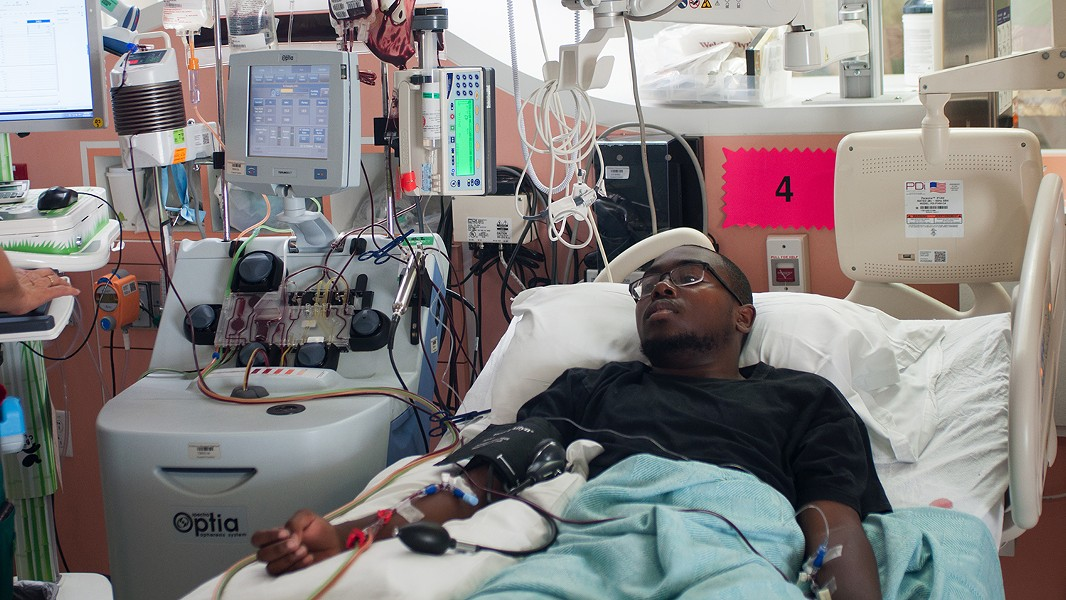 Treyvonn Chadwick receives monthly apheresis treatments, which help prevent strokes and alleviate severe pain, at Children's Hospital Oakland. - PHOTO BY DREW COSTLEY
