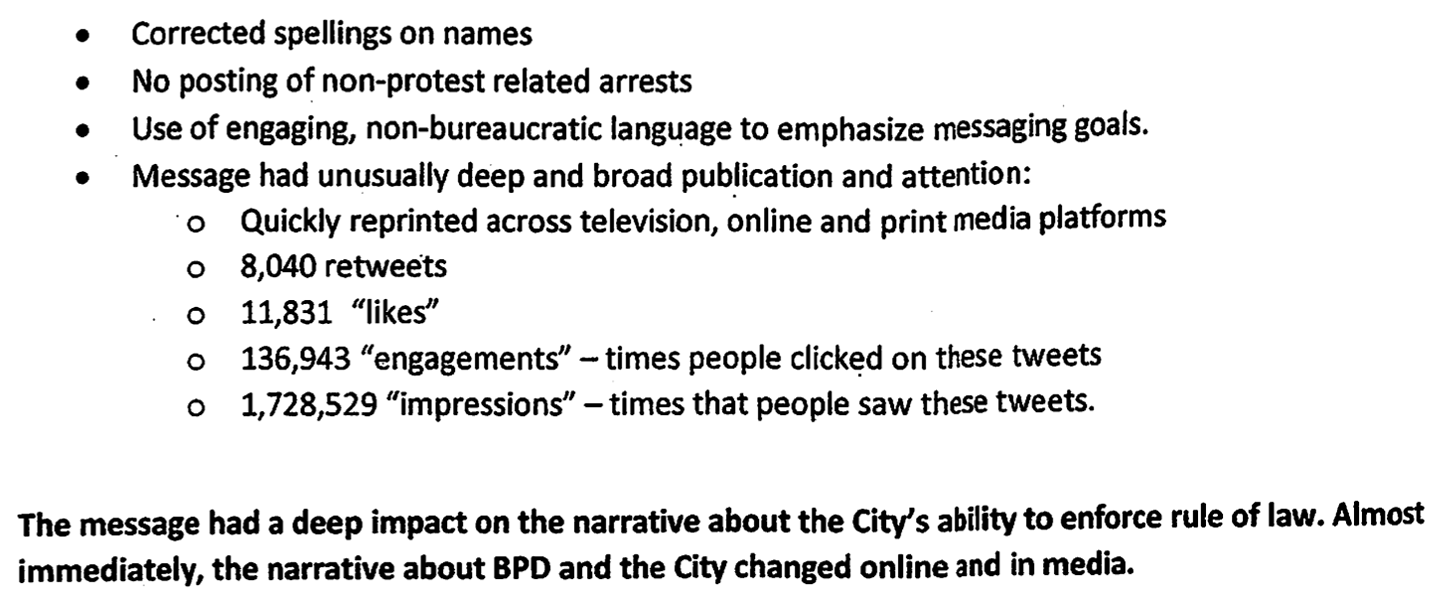 "An excerpt from Berkeley's ""BPD Twitter Protocol for mug shots,"" a document spelling out how and when the police should use social media to reveal the identities of people arrested during protests."