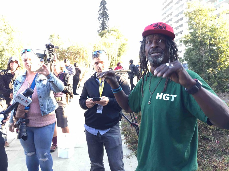 Nino Parker, who lives in a camp on the E. 12th Street Remainder Parcel near Lake Merritt said he doesn't want to move.