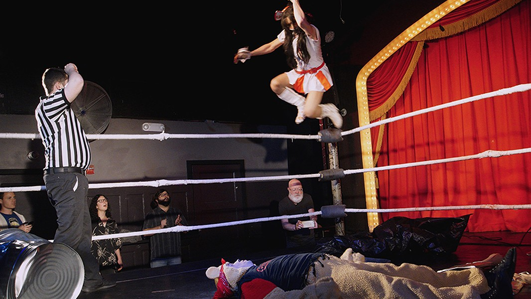 Nurse Ratchet dives onto Pooh Jack at Hoodslam's Sexy Good Time Wrestle Show. - PHOTO COURTESY OF NICOLE GLUCKSTERN