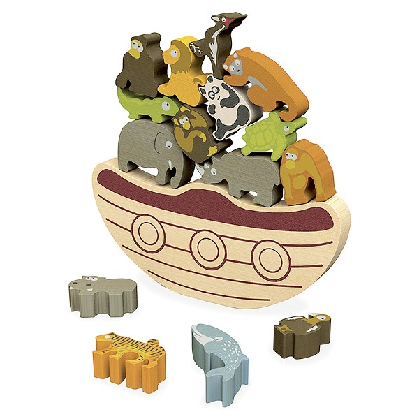 Endangered Animals Balance Boat comes with 15 wood animals.