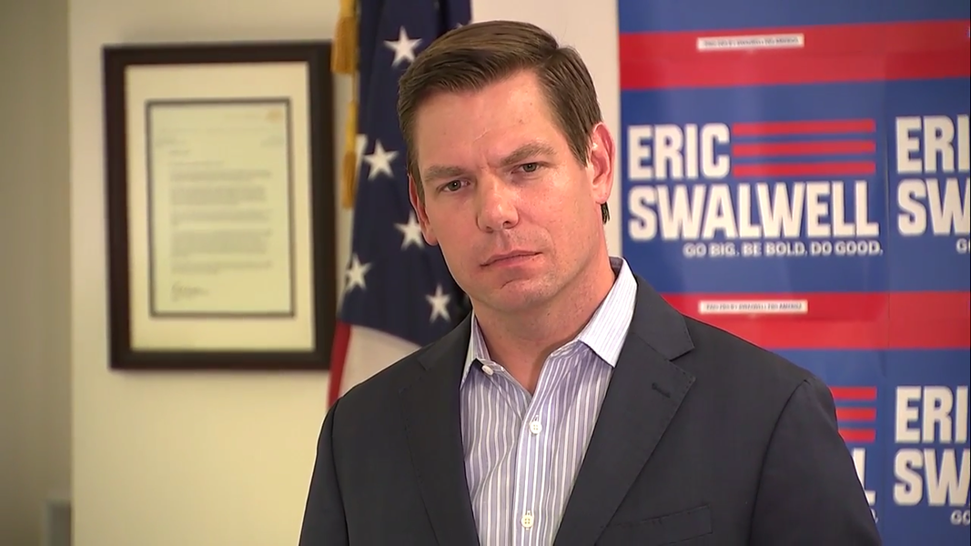 Rep. Eric Swalwell announcing the end of his presidential campaign in Dublin.