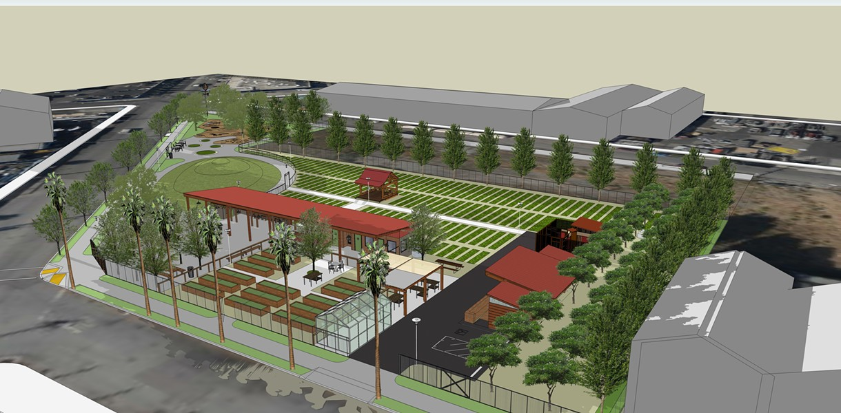 A rendering of the new urban farm and park. - CITY SLICKER FARMS