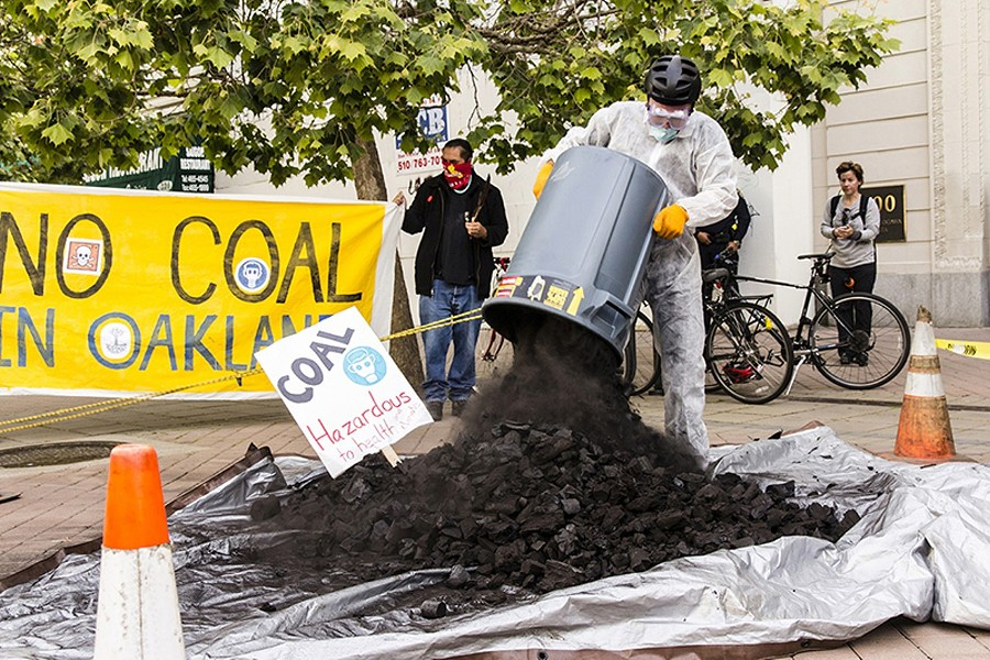 A recent protest in Oakland against a proposed coal terminal at the port. - STEVE NADEL