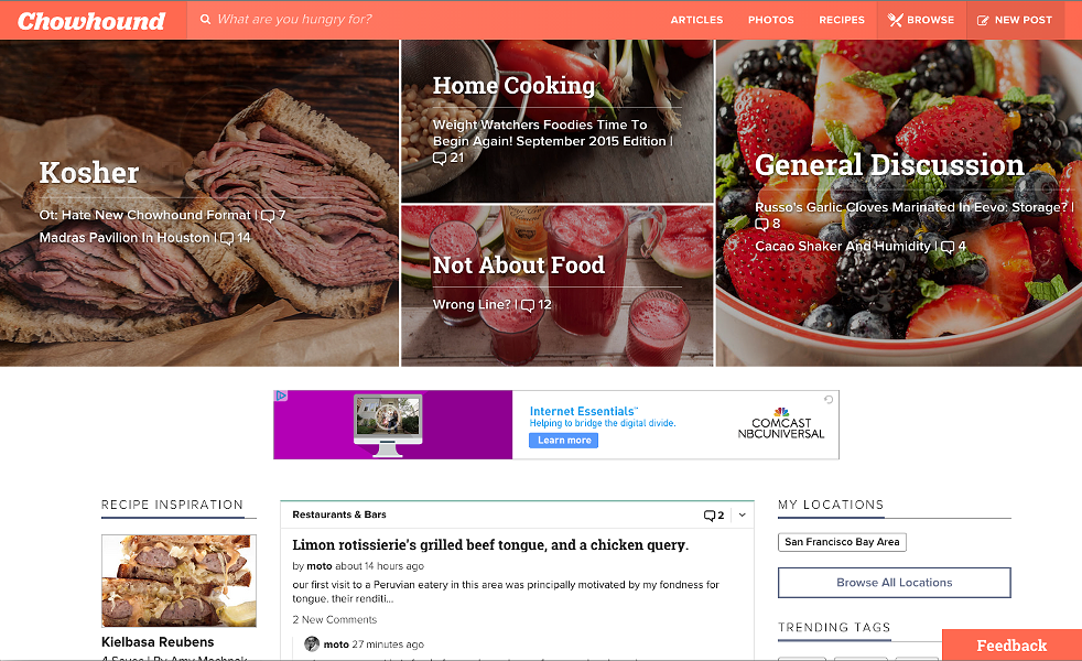 Screenshot of the new Chowhound.com interface, which launched on September 10.