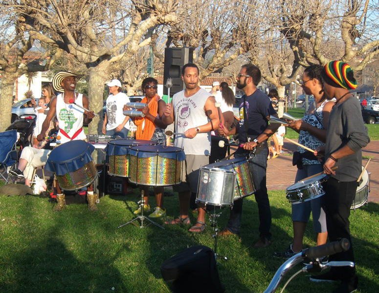 SambaFunk! drummers at a different Lake Merritt event. - ELISE EVANS / COURTESY OF SAMBAFUNK!