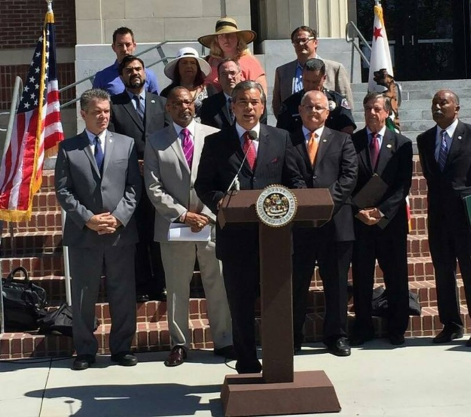 Assemblymember Rob Bonta holds a press conference with regulations co-authors urging Brown's signature. - ROB BONTA