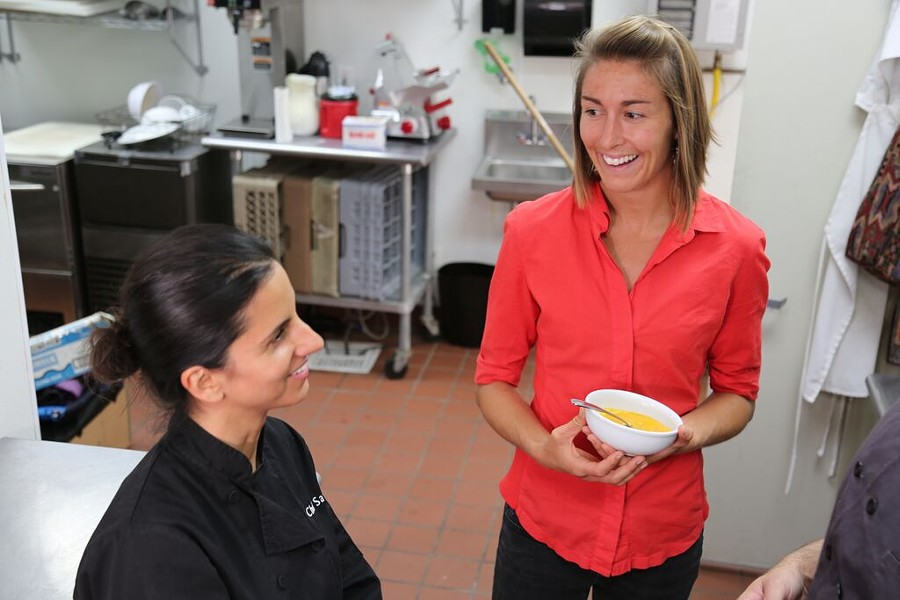 Dana Frasz (right) tests a soup recipe at the Alameda Kitchen. - FOOD SHIFT