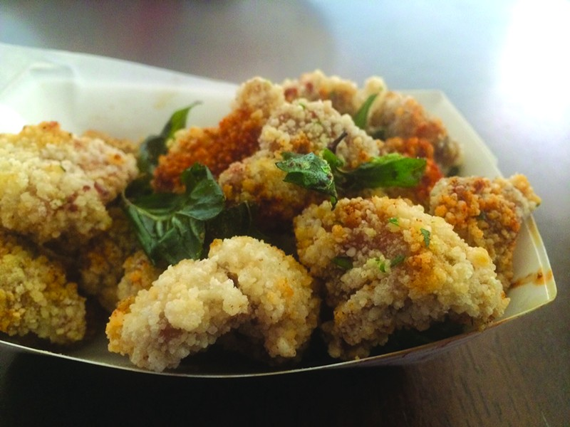 The popcorn chicken,