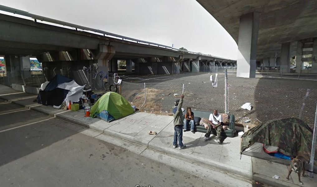 A homeless camp near the intersection of Sycamore Street and Northgate Avenue that was closed in 2015. - GOOGLE STREETMAP