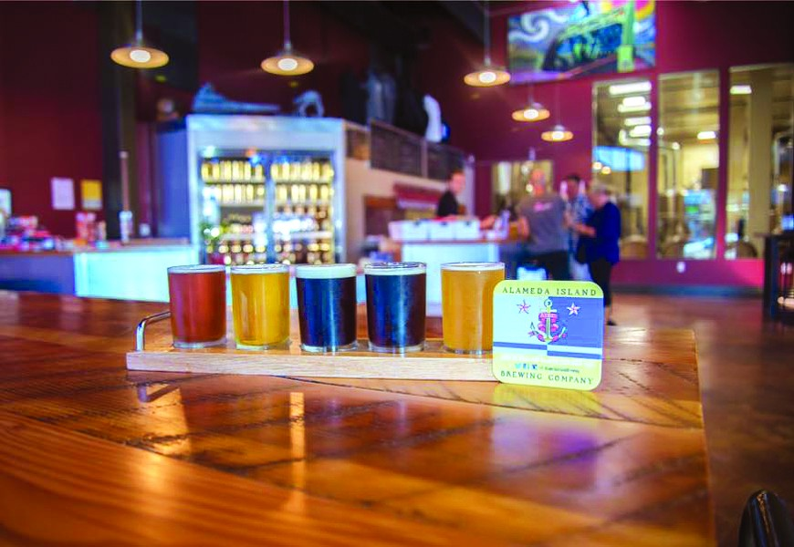 A beer flight at Alameda Island Brewing Company.