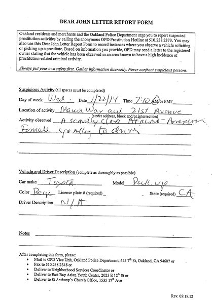 "A ""Dear John"" report form submitted to the Oakland police in 2014."