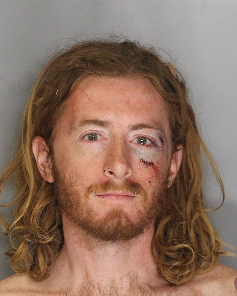 Booking photo of Sean Thompson, who reportedly assaulted Sacramento Mayor Kevin Johnson with a pie — then was punched repeatedly by Johnson, according to multiple witnesses. - SACRAMENTO POLICE DEPARTMENT