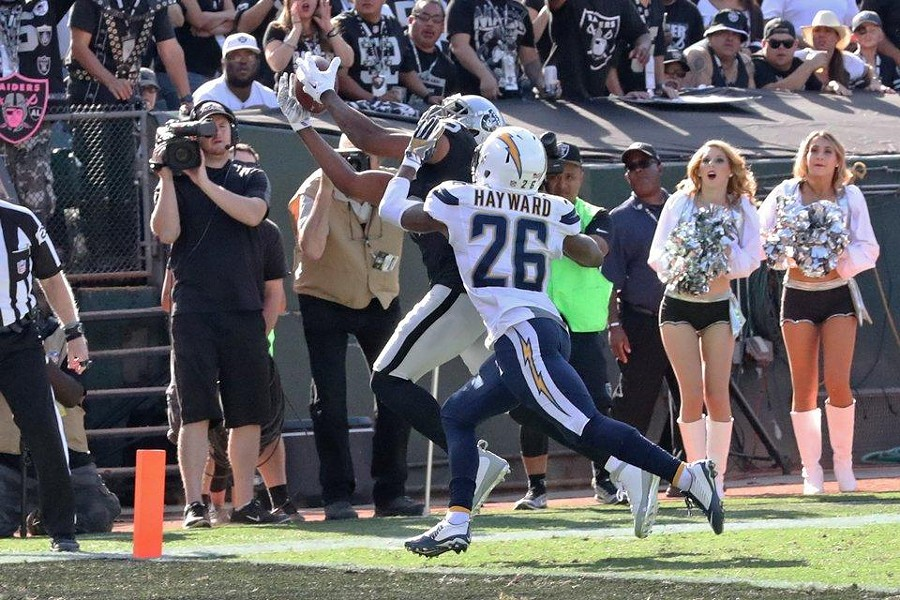 Michael Crabtree reels in a fourth-and-two fade pass for a touchdown in the third quarter. - COURTESY OF THE RAIDERS