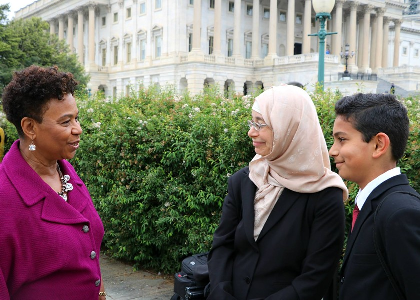 Rep. Barbara Lee (left) discusses the Syrian refugee crisis with a Berkeley teen (right) last summer. - COURTESY OF REP. BARBARA LEE