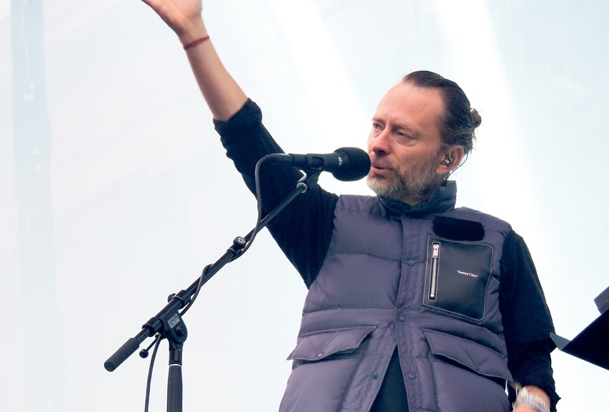 Thom Yorke of Radiohead gestures to the sold-out Greek Theatre crowd last night in Berkeley. - NICK MILLER