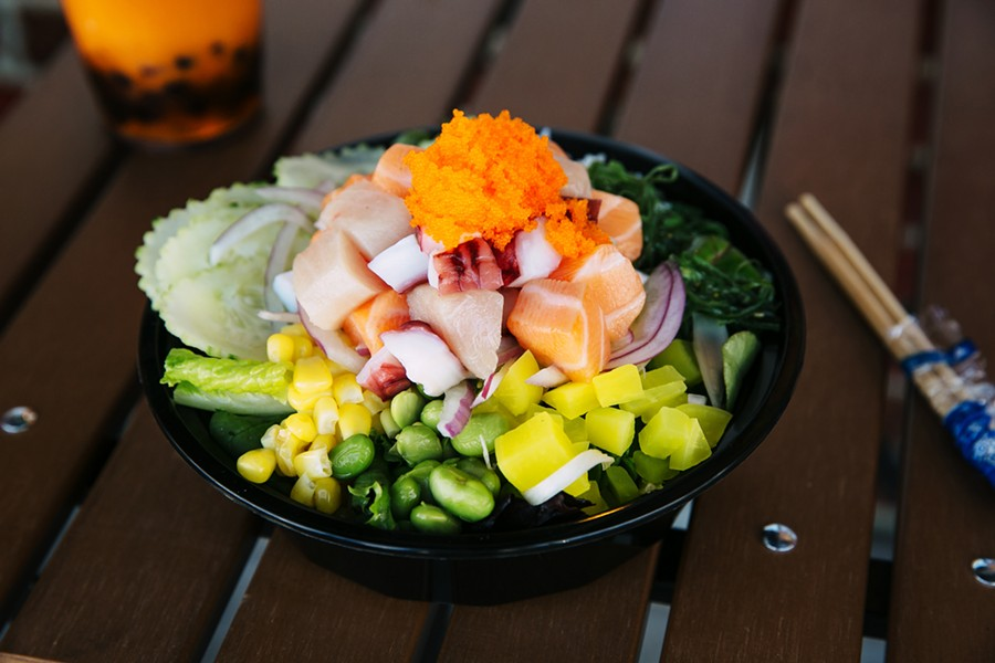 A poke bowl brimming with toppings at Poke Bowl.  - ANDRIA LO