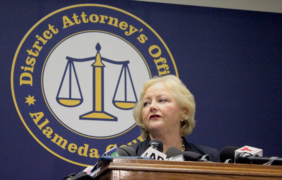 Alameda County District Attorney Nancy O'Malley announces charges in the Ghost Ship fire this morning. - PHOTO BY GABRIELLE CANON