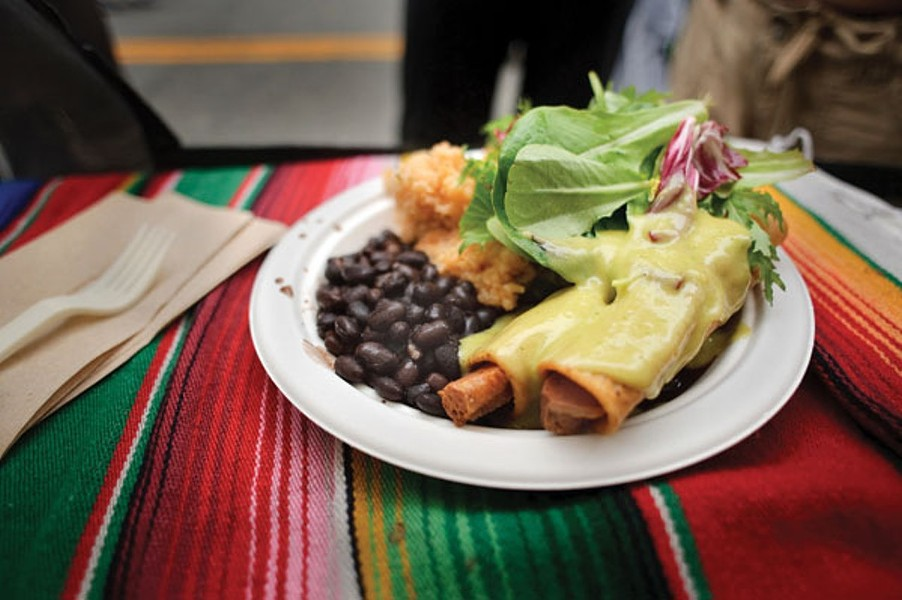 The popular vegan taquitos at Flacos in Berkeley. - FILE/PHOTO BY CHRIS DUFFEY
