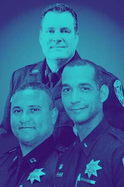 Assistant Police Chief John Lois (top), Capt. Kirk Coleman (lower left), Capt. Roland Holmgren (right).