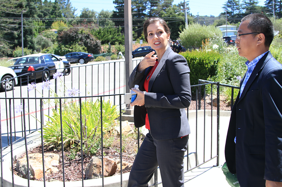 Mayor Libby Schaaf leaving today's ceremony. - ALI WINSTON