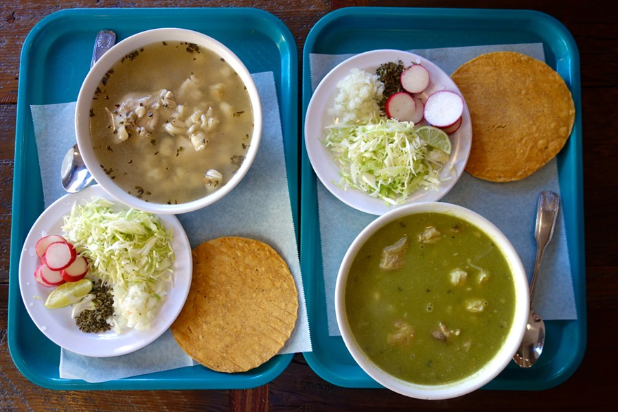 Obelisco serves pozole with all the fixings. - COURTESY OF FERRON SALNIKER