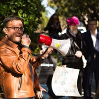 Protest at Peter Thiel's Mansion David Campos, a former member of San Francisco's Board of Supervisors, spoke against Palantir and President Trump's immigration policy.