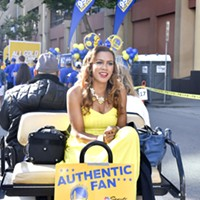 Warriors 2017 Championship Parade and Rally in Oakland Warriors sideline reporter Ros Gold-Onwude.