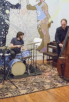 Guitarist Ben Westfall (on recorder), drummer Aaron Levin, bassist Leo Lober-Tracy, and saxophonist Rent Romus improvised a quick set before an Oakland Freedom Jazz Society show at Studio Grand on Jan. 22.